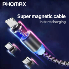 PHOMAX  USB Magnetic Cable 3 in 1 For iPhone X Xs Xr & Type C Android Nylon Braided for Samsung S9 Xiaomi