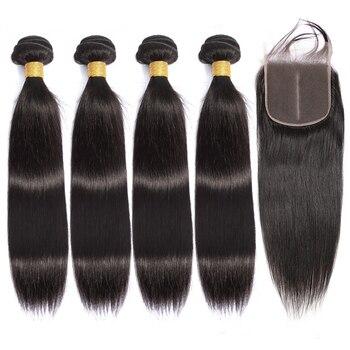 Lanqi бразильские волнистые пучки волос, прямые пучки волос с закрытием, пучки человеческих волос с закрытием, не-Реми, наращивание волос