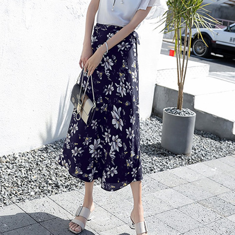 Boho Women Flower Long Skirt Summer Beach Sunny Female Skirts Floral Chiffon Tutu Skirt