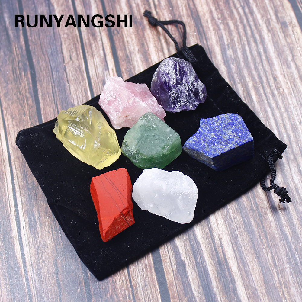 1 set Natural crystal stone seven chakras Black cloth bag large grain unpolished collection gift