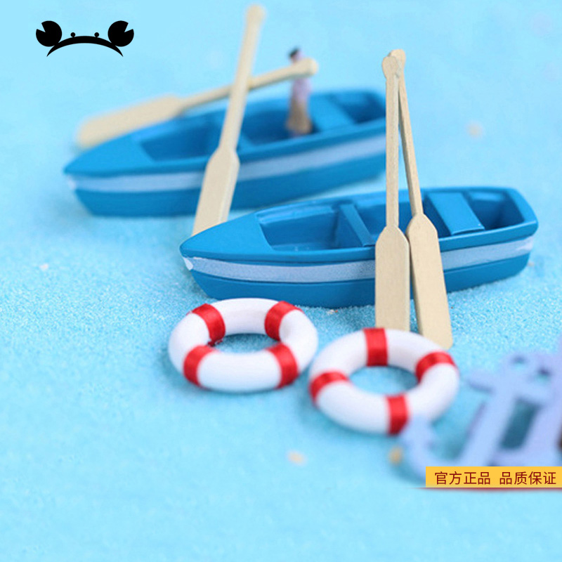 6pcs/Set Mini Cute Boat Model Toys Blue Ship Paddle Model Set Wooden Kids Educational Toys For Children