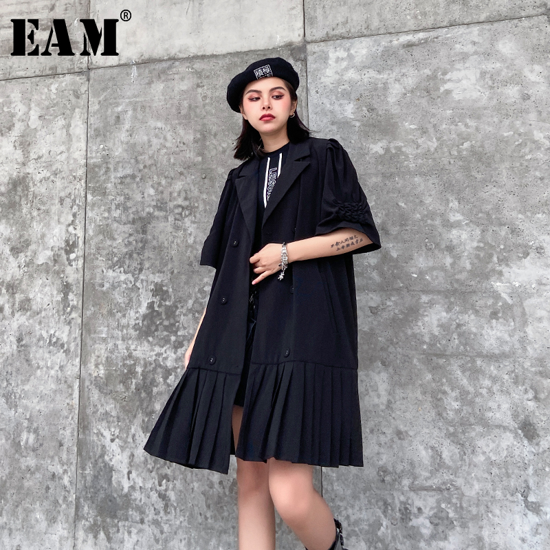 [EAM] Loose Fit Black Pleated Split Joint Big Size Jacket New Lapel Half Sleeve Women Coat Fashion Tide Spring 2020 1T173