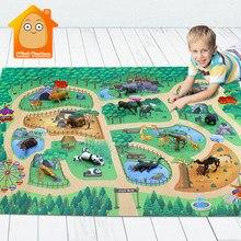 142*96cm crianças jogar esteira animais modelo conjunto cartoon zoo pano mapa piso desktop fingir jogo brinquedos educativos para crianças