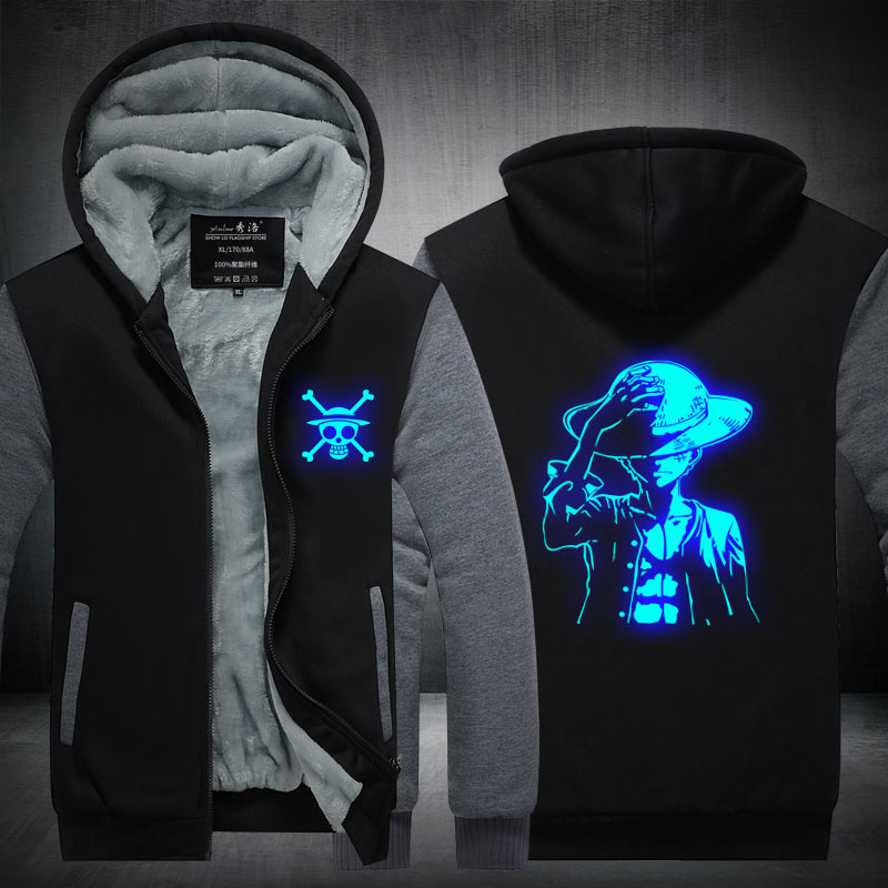 Fans Made One Piece Winter Hoodie Monkey D. Luffy At Night Zip Up Hoodies 3D Printed Hooded Cosplay Sweatshirts