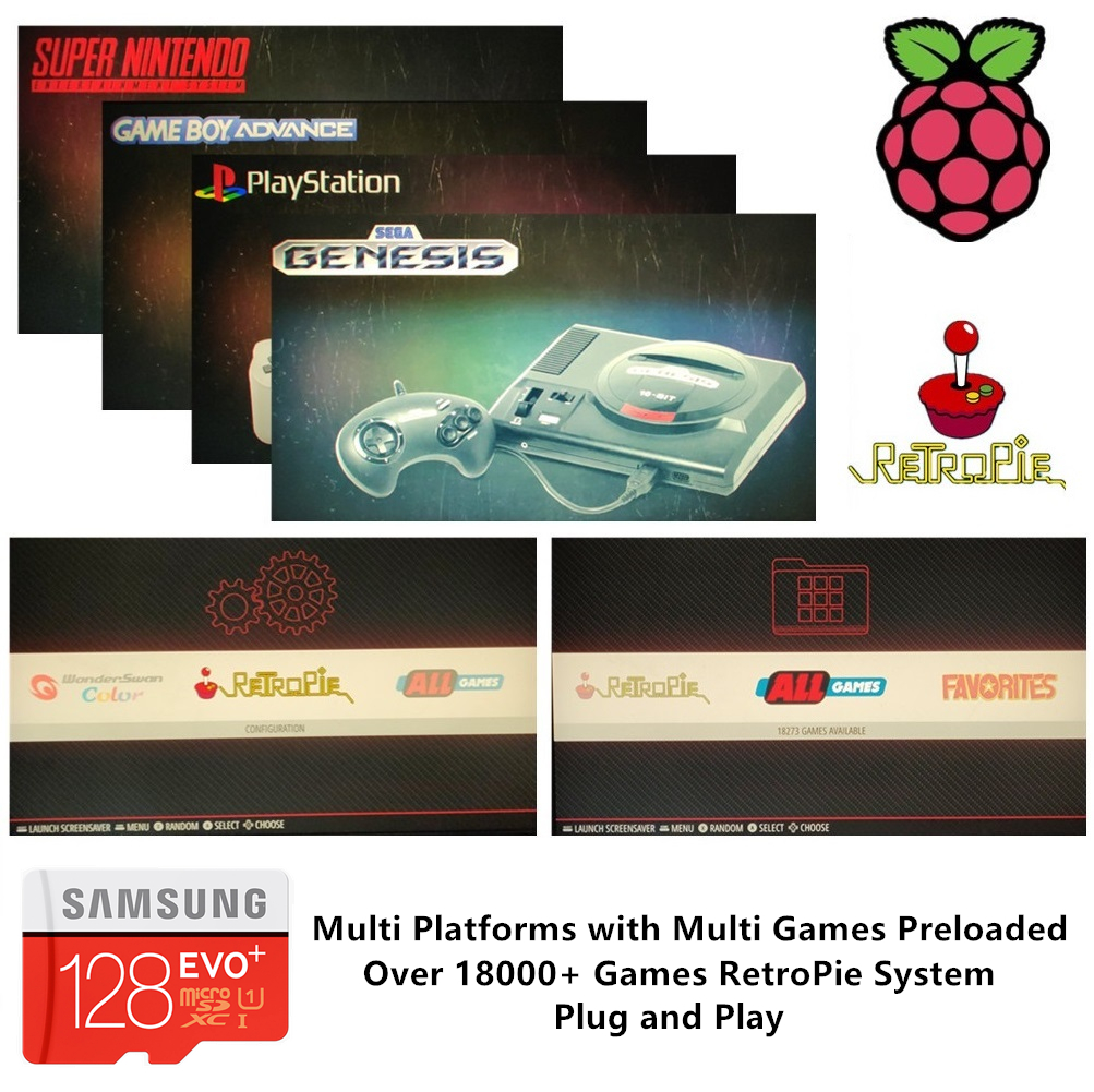 RetroPie SD Card 128GB For Raspberry Pi 3 B+ 18000+ Games 30+ Sytems Diyable Emulation Station Games Preloaded Plug&Play