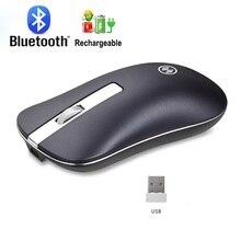 Mysz bezprzewodowa na akumulator komputerowa mysz Bluetooth cicha na PC Laptop 2.4Ghz Mini USB ergonomiczna mysz bezgłośna