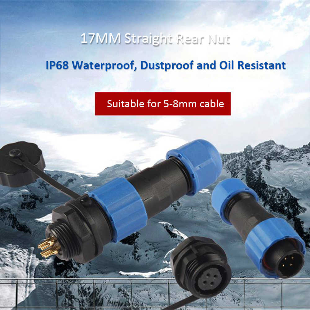 Su geçirmez konnektör SP17 IP68 kablo konektörü dairesel soket fişi + soket 17mm 2Pin 3Pin 4Pin 5Pin 7Pin 9Pin çok kutuplu fiş