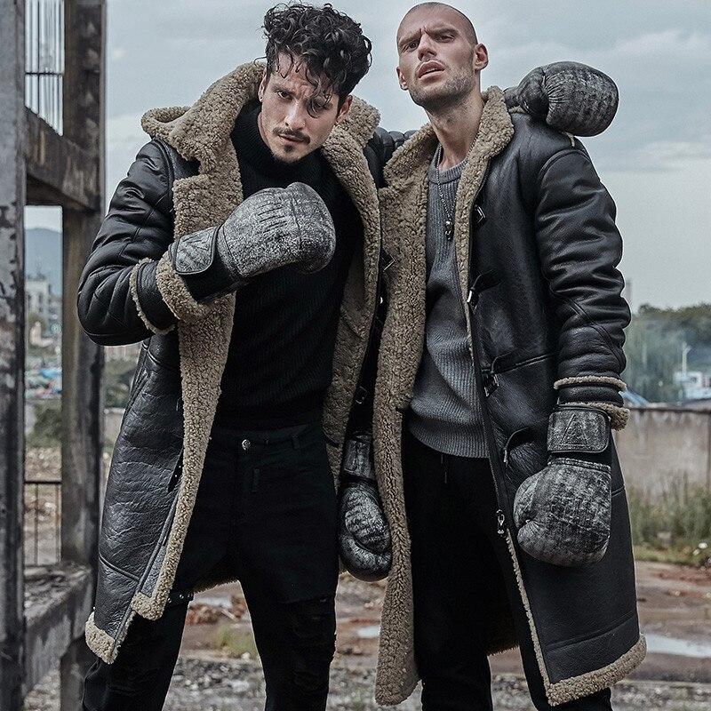 Men Genuine Leather Jacket Real Leather Fur Coats Long Man Original Ecological Sheepskin Coat Hood Shearling Winter Thick Parka