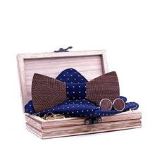 Linbaiway Vintage Wooden Bowtie Pocket Square Cufflinks Set