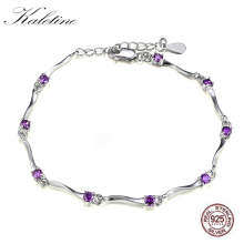 KALETINE Genuine 925 Sterling Silver Charm Bracelet Simple Design Austrian Purpl