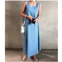 Women Vintage Sleeveless A line Long Dress 2019 Summer Belted Solid Beach Party Dress Linen Blend Plus Size Dress
