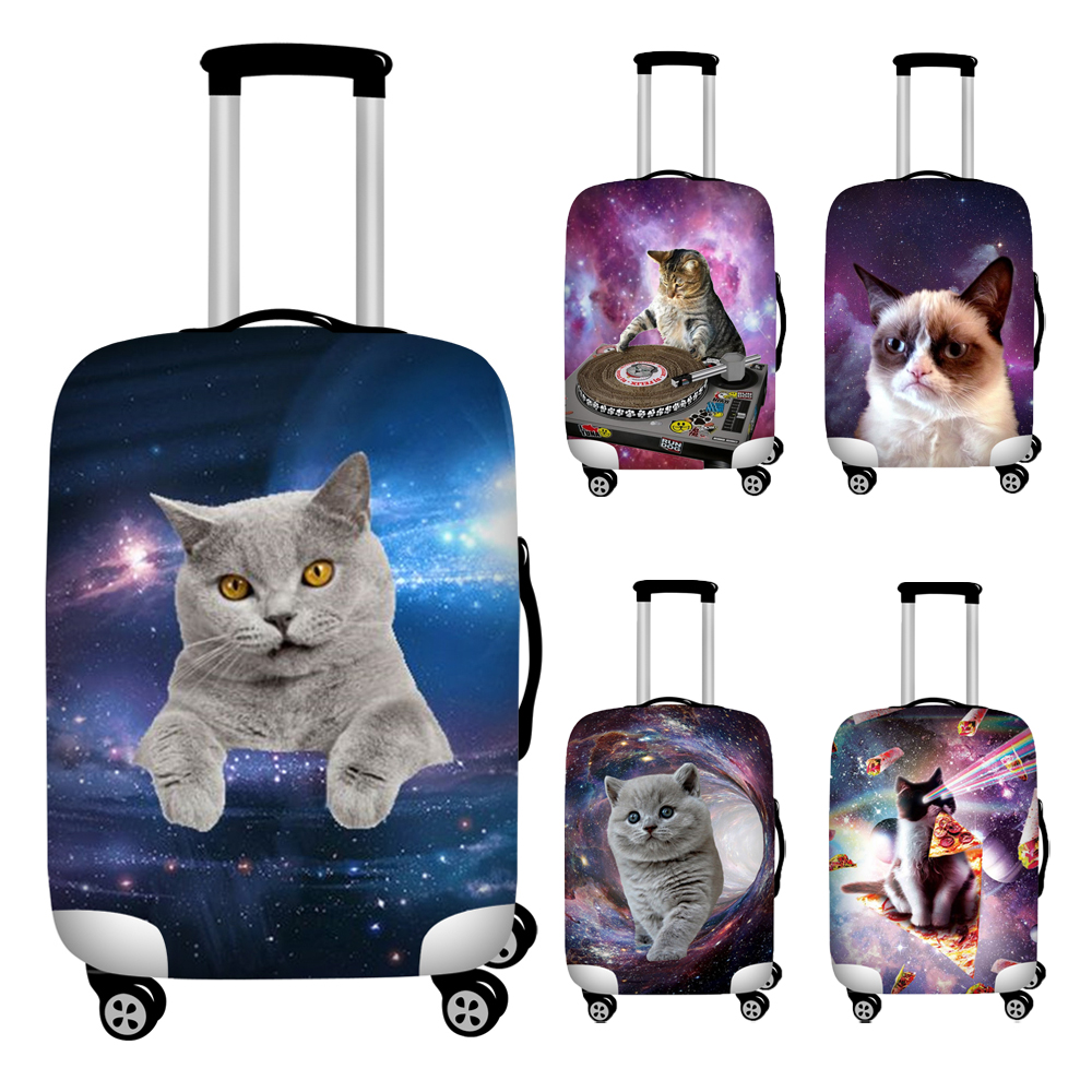Nopersonality Dust-proof Luggage Protective Cover Sapce Cat Print Travel Baggage Trolley Case Covers Elastic Suitcase Covers