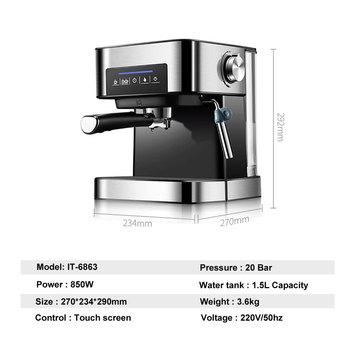 ITOP Electric 20Bar Italian Coffee Maker Household Americano Espresso Coffee Machine Fancy Milk Foam Maker 220V 4