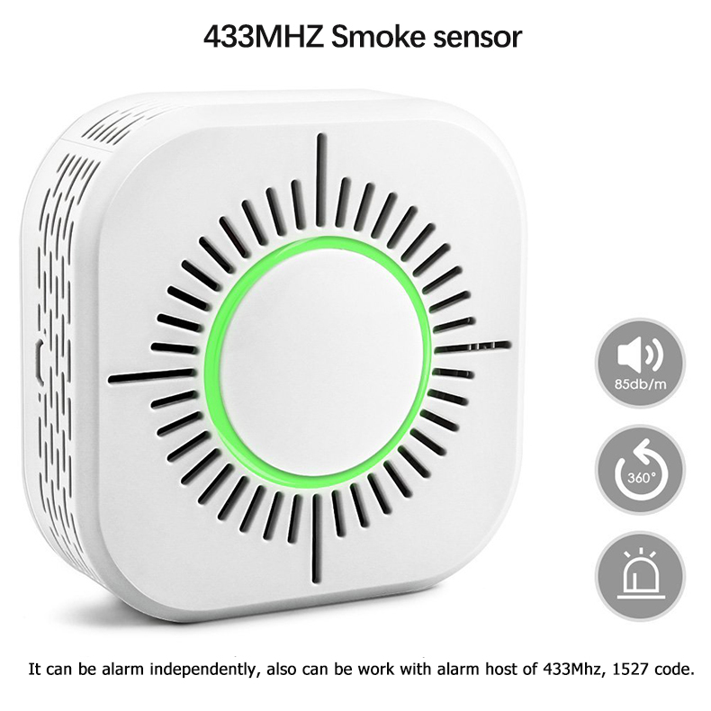 2pcs Smoke Detector Wireless 433MHz Fire Security Alarm Protection Alarm Sensor For Home Factory Security Alarm System