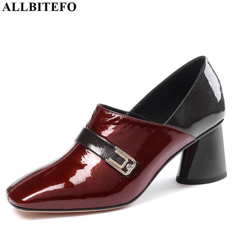 ALLBITEFO Genuine Leather High Heels Fashion Ladies Shoes High Heel Shoes Girls High Quality Leisure Women Shoes Women Heels