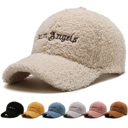 Autumn And Winter Women Baseball Caps Casual Style Lamb Wool Embroidery Art Font Pattern Fashion Outdoor Street Play Female Hats
