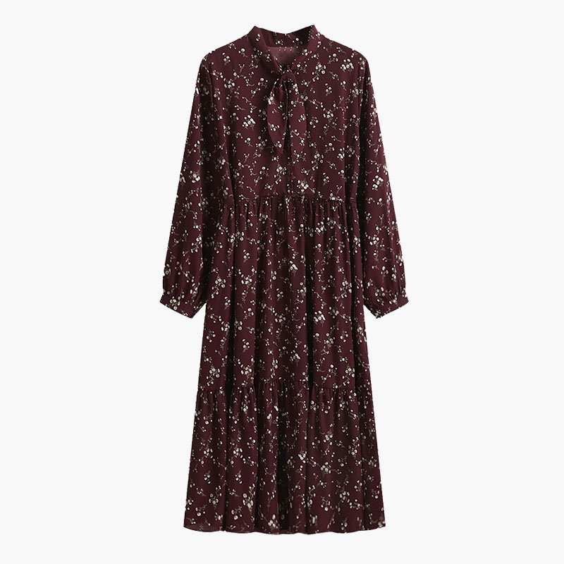 Yitimuceng Vintage Dresses for Women 2021 Spring Floral Print Bow Long Sleeve Black Party Elastic Waist Plus Size Woman Dress 9