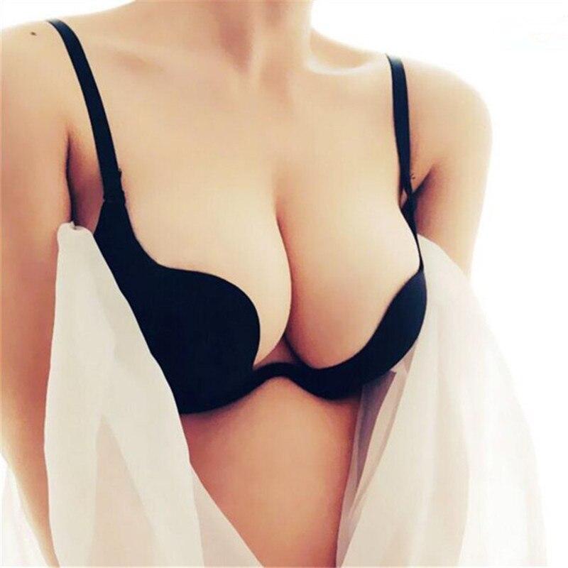 Sexy Women Lingerie U Backless Bras Underwear Deep U Low Cut Push Up Bra Intimates ECMLN Female Breathable Bralette
