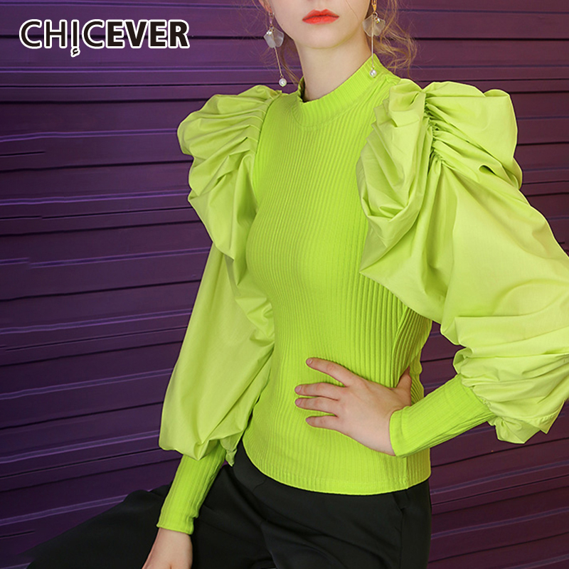 CHICEVER Korean Knitting Women's Sweater O Neck Puff Sleeve Large Size Casual Pullover Sweaters Female 2019 Fashion New Clothes