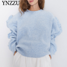 2019 Autumn Winter Blue Women flounce sweater O-neck ruffles sleeve Female knitted tops Loose casual pullover jumper YNZZU YT696