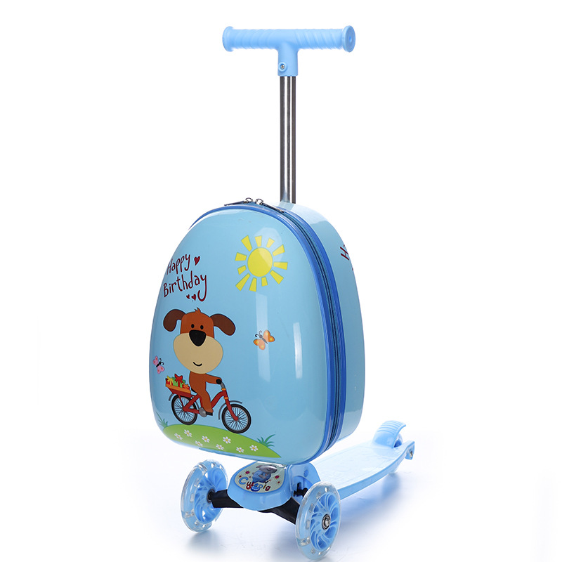 16 Inch Kids Cartoon Luggage Scooter Cute Travel Trolley Suitcase With Wheels Skateboard Children Gift Luggage Case