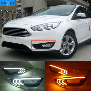 2 Chiếc Cho Xe Ford Focus 3 Mk3 2015 2016 2017 2018 Nhan Và Mờ Phong Cách Relay 12V LED xe DRL Chạy Ban Ngày Ánh Sáng Đèn Sương Mù