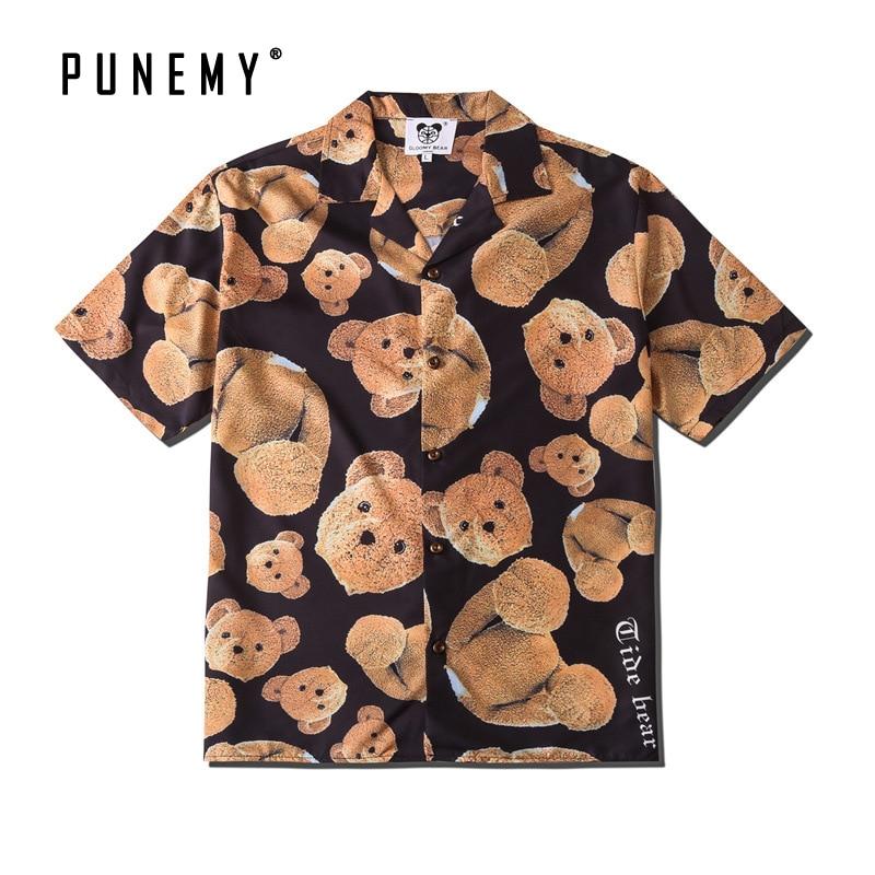 Shirt Men Funny Cartton Bear Pattern Hip Hop Streetwear Oversize 2020 Spring New Short Sleeve Harajuku Casual Couple Shirt