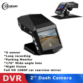 Vehemo Video Recorder DVR Night Vision HD 1080P 170° G-Sensor Rearview Mirror With TF Dashcam Motion detection Driving Camera