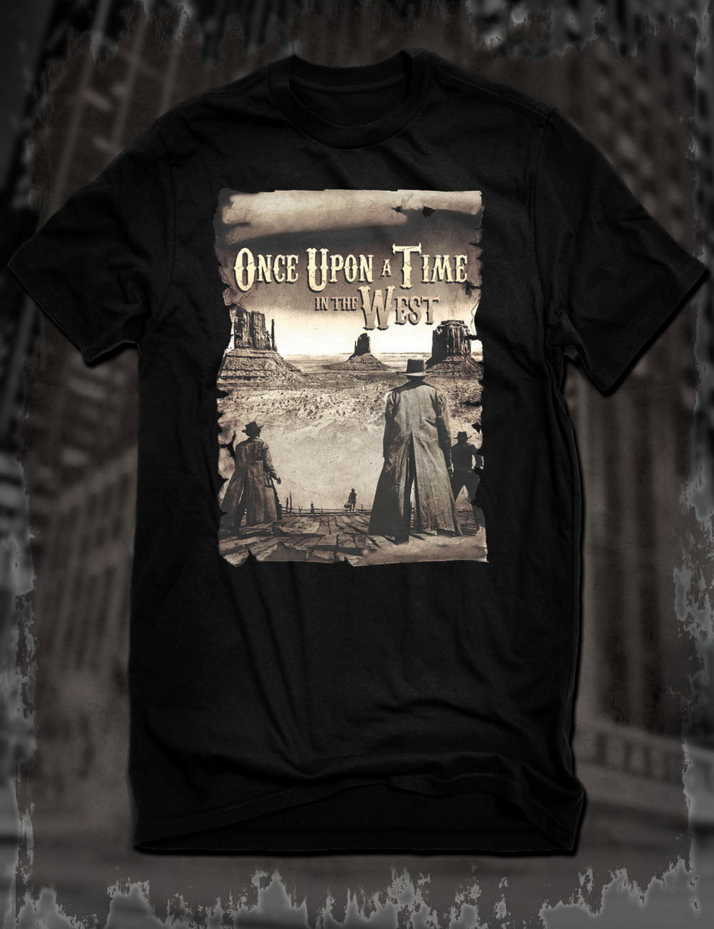 New Black Once Upon A Time In The West Western Movie Tops Tee T Shirt Sergio Leone Film T-Shirt Outfit Casual