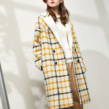 Wool  Blends Coat Women Thick Warm Casual Plaid Jacket Manteau Femme Autumn Witer Coats