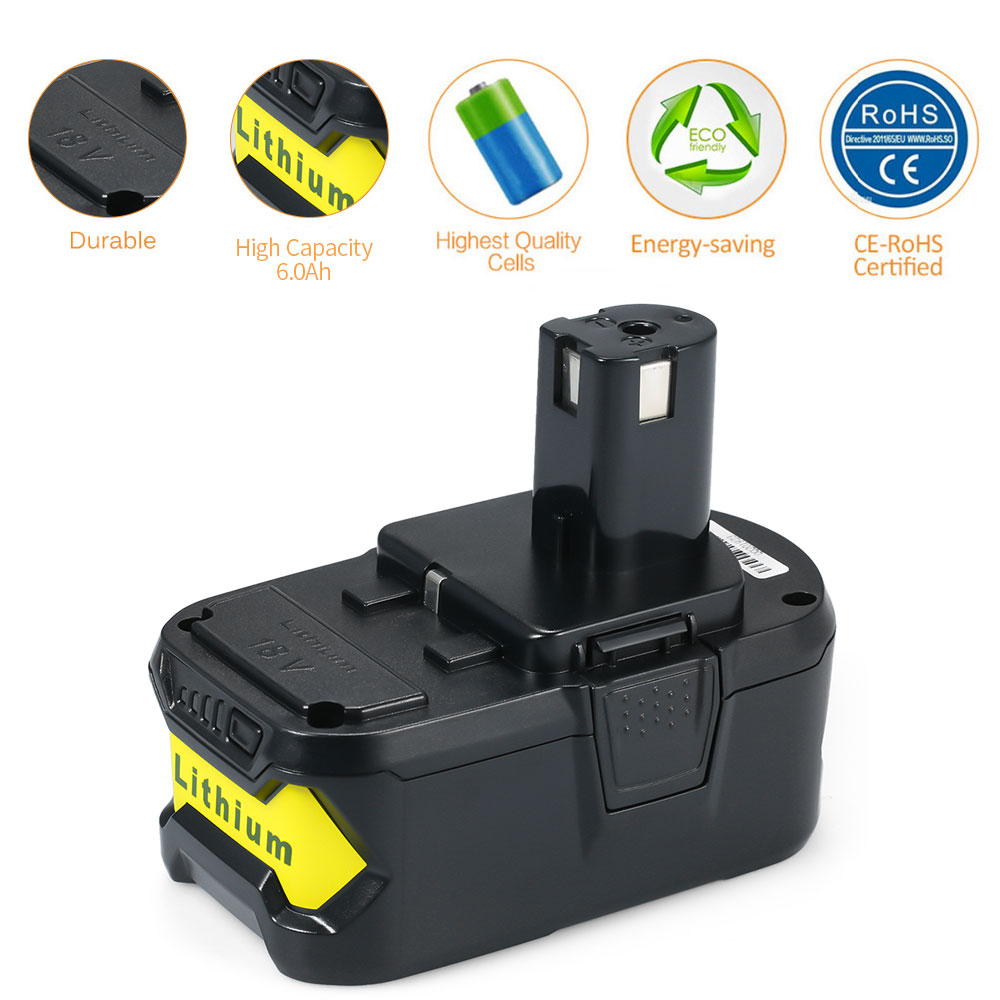 2019 batterie de remplacement pour Ryobi 18V 4000 mah/5000 mah/6000 mah Li-ion chargeur un sans fil P103 P108 Kit de perceuse Pack outils électriques