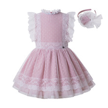 Newest Pettigirl Wholesale Pink Party Girl Dress For 2 8Y Girl  Flower Lace Dress With Headband Kids Clothing  G DMGD212 301