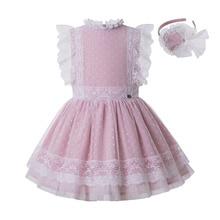 Yeni Pettigirl toptan pembe parti kız elbise 2 8Y kız çiçek dantel elbise kafa bandı ile çocuk giyim G DMGD212 301