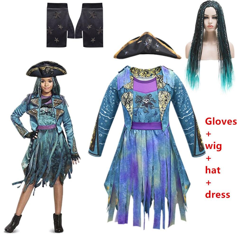 2019 Descendants 3 Mal&Uma Ursula Daughter Braids Long Green Black Dreadlocks Kids Cosplay Wig Dress Halloween Costume For Kids