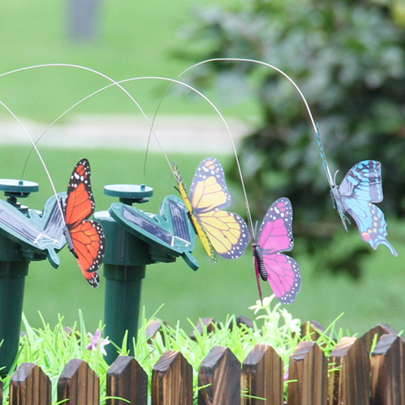 Easter Decora Colorful Vibration Solar Power Dancing Flying Fluttering Butterflies Hummingbird font b Home b font