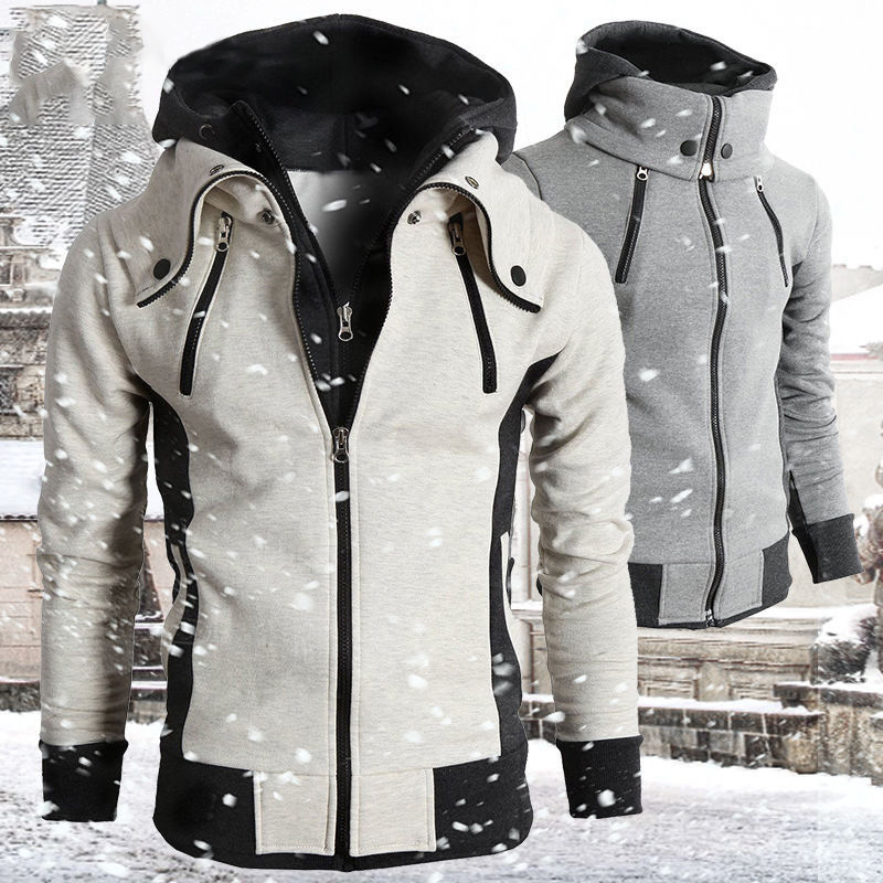 Zipper Men Jackets Spring Autumn Casual Fleece Coats Bomber Jacket Scarf Collar Fashion Hooded Male Outwear Slim Fit Hoodie