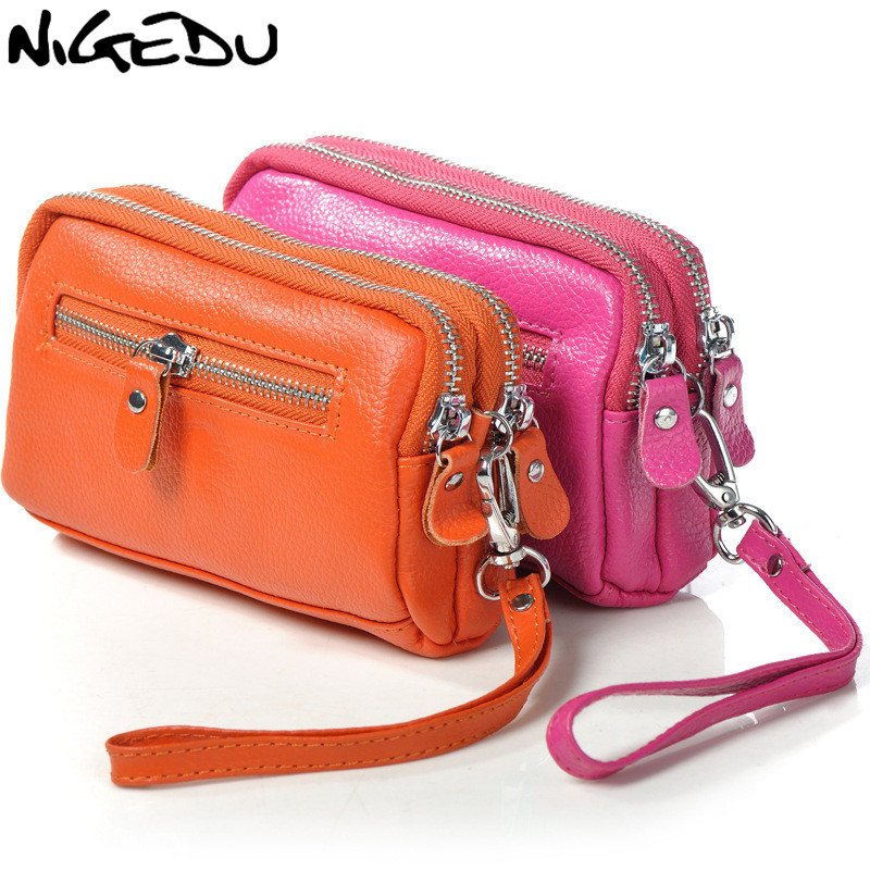 NIGEDU Genuine Leather Female Wallet Cowhide Coin Purse 2 Layers Zipper Purses Big Capacity Lady Clutch Mobile Phone Bag Small