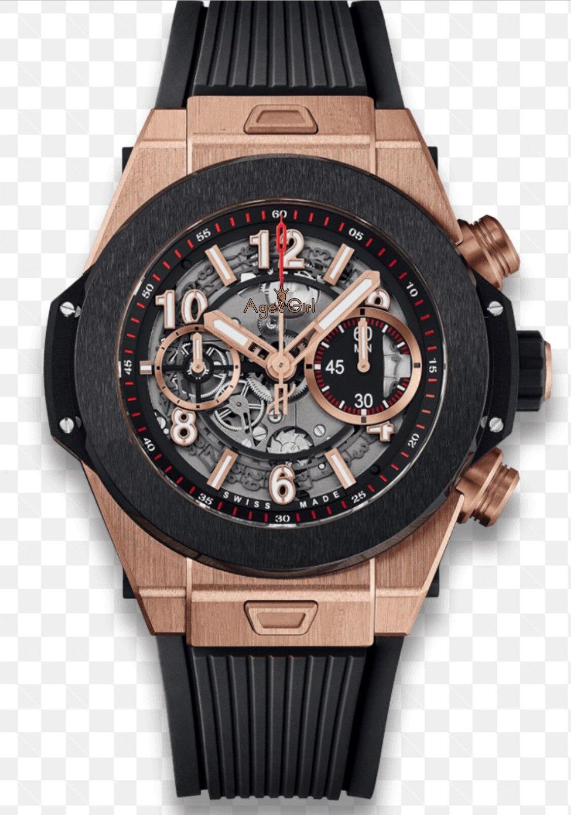 Marque de luxe nouveaux hommes chronographe Rose or argent noir en plastique en acier inoxydable saphir verre montres lumineuses chronomètre Sport