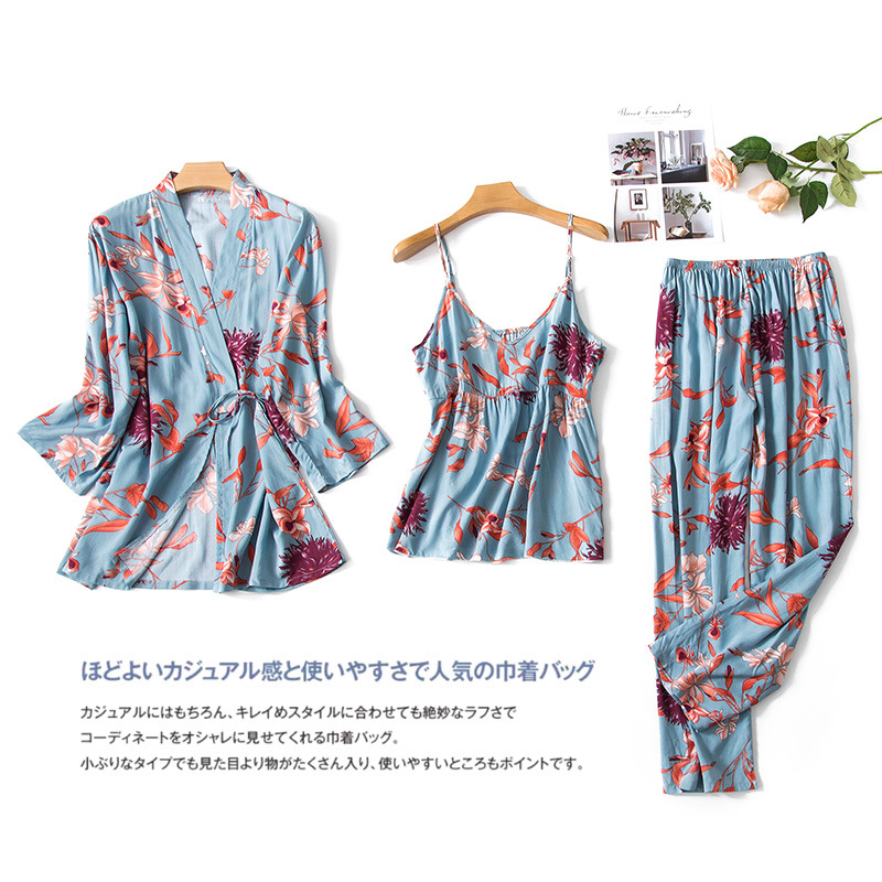 JULY'S SONG 3 PCS  Floral Printed Pajamas Sets Viscose Soft Sleepwear Elegant  Robe Sexy Sling Pants Homewear Female Pyjamas