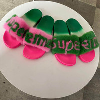 Mink Slippers European Station Fashion Fur Slippers High Quality Mink Slippers Ladies Summer 100%Mink Slippers Alphabet Slippers