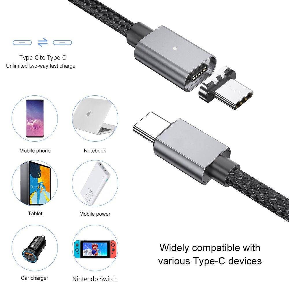 5A szybka ładowarka USB kabel magnetyczny typ C do typu C PD