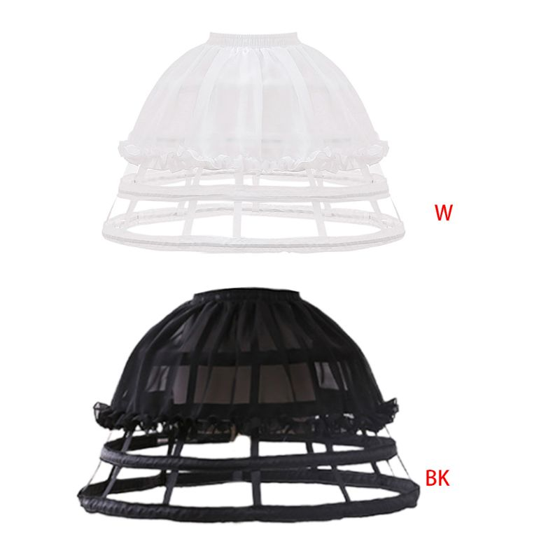Womens Lolita Hollow Out Birdcage Petticoat 4 Hoops Pleated Ruffles Underskirt