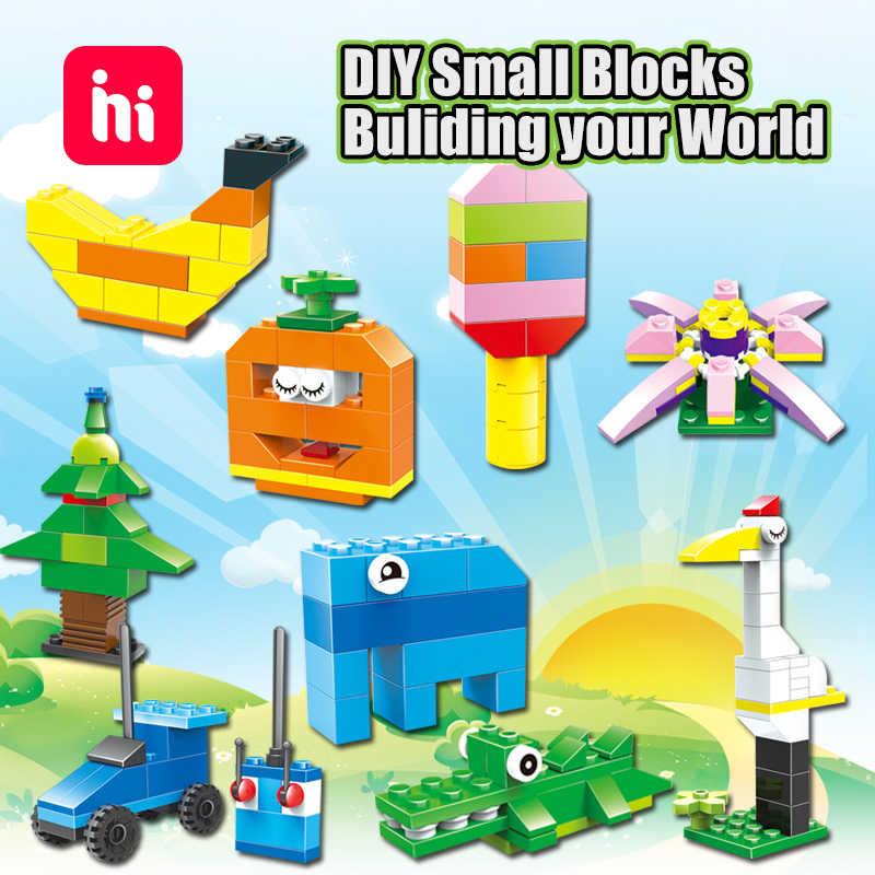 Hipac diy ビルディングブロック rc カー象図レンガ木信者ブロックおもちゃ子供のためのバナナのサメのおもちゃ子供