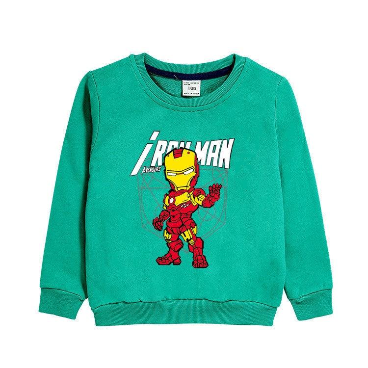 3~8 Years Autumn winter children's clothing Cartoon anime Iron hero Long-sleeved shirt T-shirt cotton blouse boy clothes gift 5