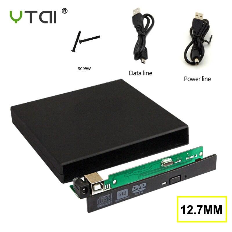 12.7mm USB 2.0 External DVD/CD-ROM Case For Laptop Desktop PC Optical Disk Drive Usb Case  Usb Case For Dvd Drive
