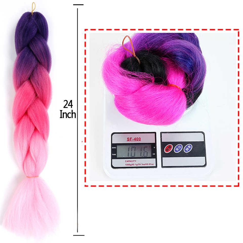 MANWEI24inch Gehaakte Vlechten Doos Vlechten 100 G/stk Ombre Jumbo Vlechten Synthetische Vlechten Hair Extensions