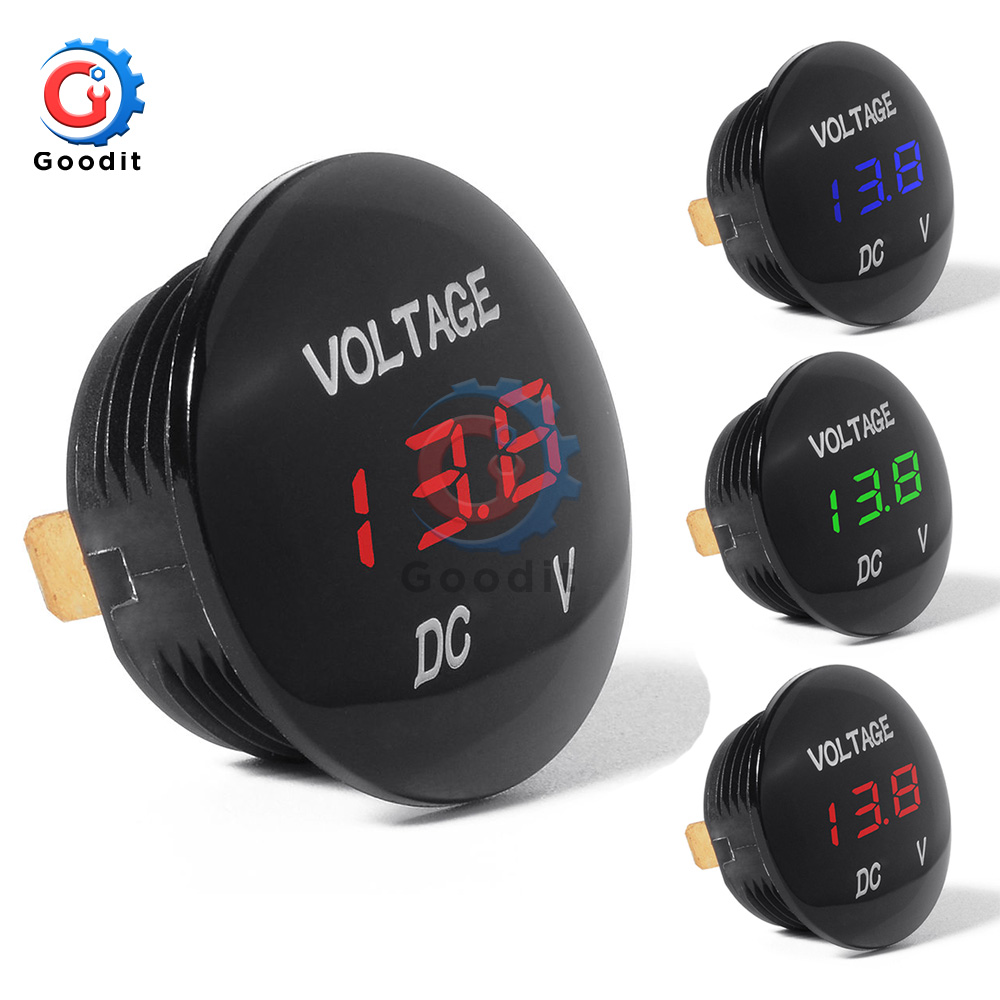 DC 5V-48V Car Motorcycle DC5V-48V LED Panel Digital Volt Voltage Meter Display Voltmeter 12V 24V 36V Waterproof DC5-48V