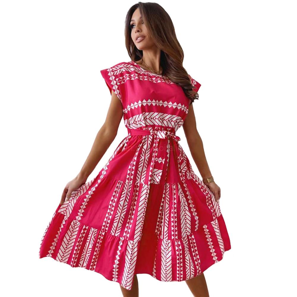 Womens Boho O-Neck Stripe Print Dress 2021 Summer Beach Holiday Sundress Casual Midi Dresses Fashion Plus Size Ladies Dress D30