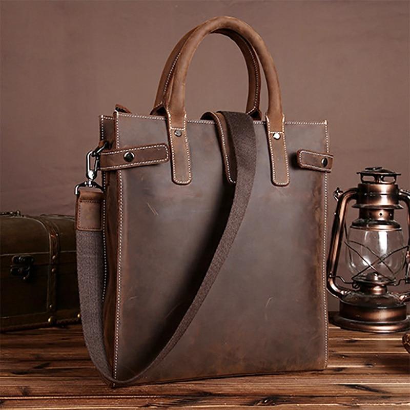 BAOERSEN Men Handbag Cross Body Tote Bag Crazy Horse Leather Business Briefcase Men Tablet Messenger Shoulder Top Handle Bags