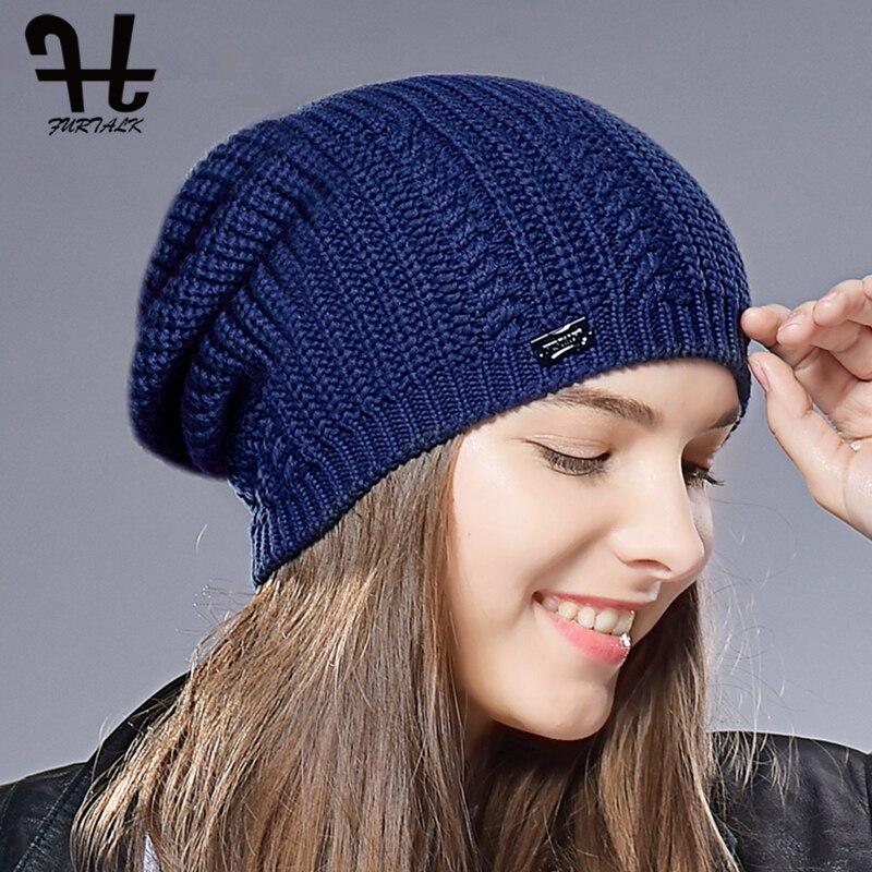 FURTALK Beanie Hat for Women Winter Warm Skullies Beanies Soft Autumn Girls Ladies Knitted Hats Female bonnet Cap Pink Black 4